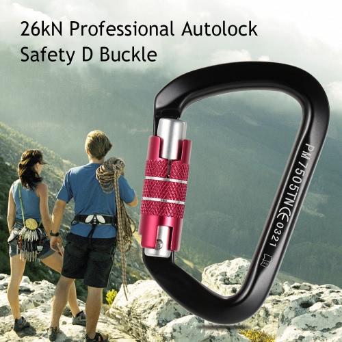 26kN Berufssicherheits D Schnalle Autolock Selbsthemmend Aluminium-Legierung Karabiner für Outdoor-Survival-Bergsteigen Klettern Caving Abseilen Rettungstechnik