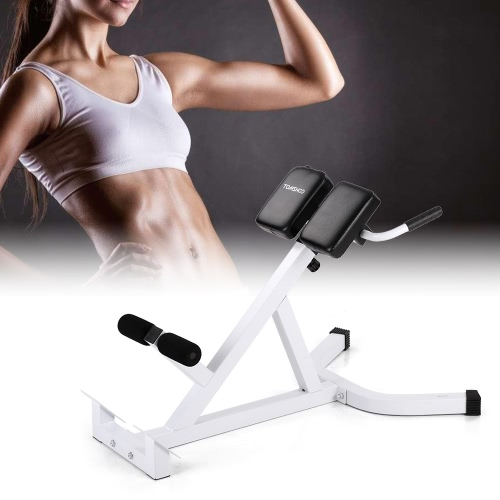 TOMSHOO Adjustable Hyperextension Roman Chair Abdominal Back Extension Exercise AB Bench Home Gym Fitness