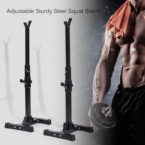 TOMSHOO Paar verstellbaren Rack Standard-Stabile Stahl Squat Ständer Bank Pressestand Barbell Racks Halter Home Gym Fitness Fitnessausrüstung