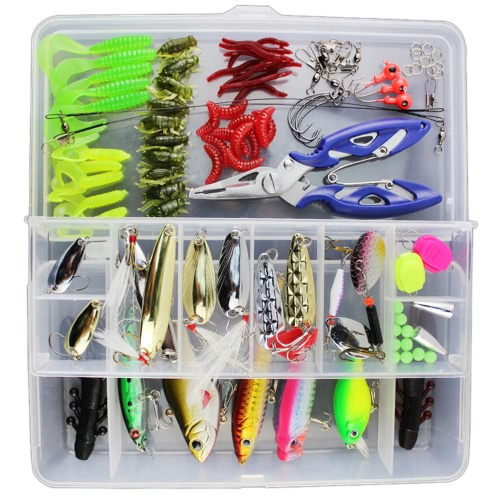 Lixada 101PCS Fishing Lures Tackle Mixed Hard Baits Soft Baits Popper Crankbait VIB Topwater Floating Fishing Lures Hooks Fishing Accessories Kit Set with Storage Box