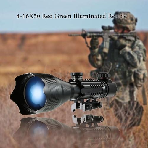 Mira telescópica 4-16x50 Red del retículo verde con 22 mm Soportes de carril por un equipo de la caza Accessor