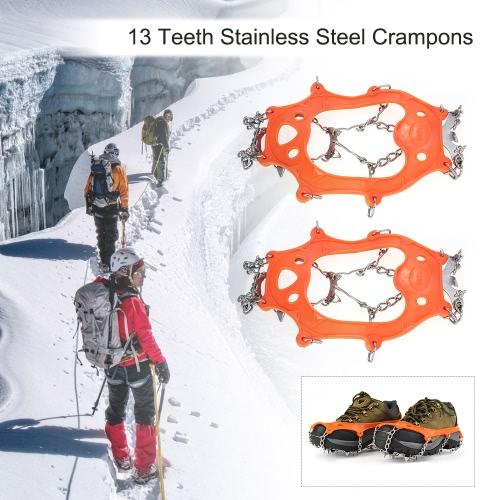 1 Par 13 Dientes Crampones Zapatos antideslizantes Cubierta de acero inoxidable Dispositivo de tracción Crampon Esquí al aire libre Nieve de hielo Senderismo
