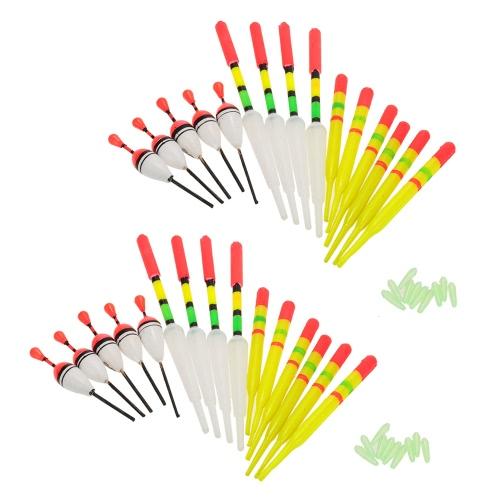 30pcs pesca galleggianti w / Gomme galleggiamento verticale Floater assortiti colori di figure di attrezzatura da pesca galleggiante da pesca