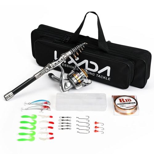 Lixada Telescopic 1.5m Pesca Rod e Reel Combo Kit Completo