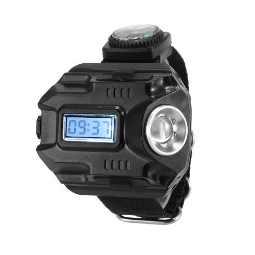 2-en-1 reloj de la linterna LED de la lámpara recargable Wristlight muñeca encendido de la antorcha al aire libre