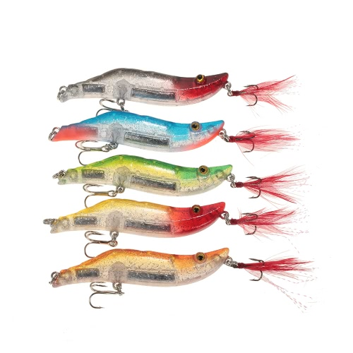 Lixada 5pcs 8cm/14g Fishing Shrimp Craw Prawn Lures Hard Artificial Fishing Set in A Box Lead Weighted Image