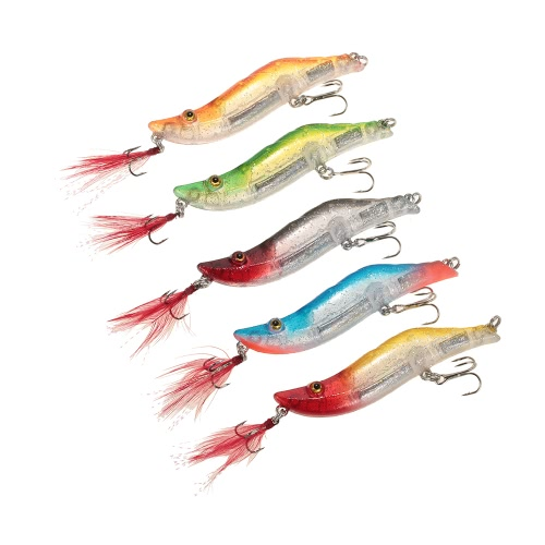Lixada 5pcs 8cm / 14g di pesca di gamberetti Craw Prawn esche hard artificiale pesca trova in una scatola di piombo Weighted