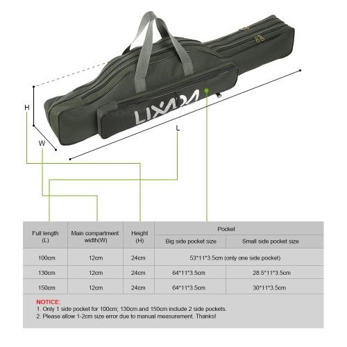 Lixada Portable Fishing Rod Bag Folding Travel Fishing Pole Tackle Storage Case