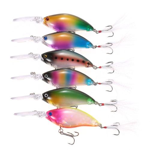 6PCS Tauchen Crankbait Fischen lockt 18g 110mm 0.3-1.5m Künstlicher Köder-harter Fischen-Köder-Satz Köder mit # 4 Feder-Haken