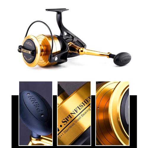 PENN Spinfisher V Spinning Fishing Reel 5+1BB Ball Bearings 6.2:1 Left/Right Interchangeable Collapsible Handle Fishing Wheel