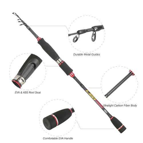 1.8M / 2.1M / 2.4M / 2.7M / 3.0M Telescopic Fishing Pole Carbon Fiber Fishing Rod Image