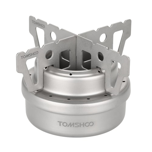 TOMSHOO Outdoor Titanium Alcohol Stove & Rack Combo Set Mini Ultralight Portable Liquid Alcohol Stove with Cross Stand Stove Rack Support Stand