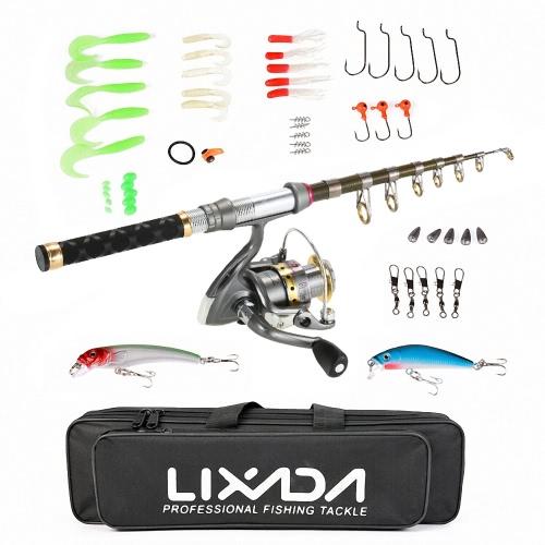 Lixada Full Kit Spinning Angelrolle Angelschnur Lure Gear Organizer Pole Set -150