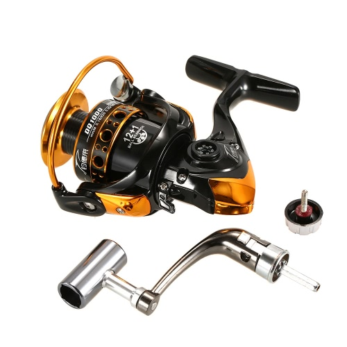 12+1BB Ball Bearings Fishing Reel 5.2:1 Spinning Fishing Reel Metal Spool Fishing Reel Left/Right Interchangeable Handle Fishing Reels