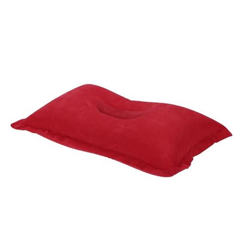 1 UNIDS Portátil Plegable Inflable Almohada Cómodo Amortiguador de Aire Descanso Cama de Sueño para Campamento Al Aire Libre Playa Coche de Viaje Deporte Avión Hotel Rojo