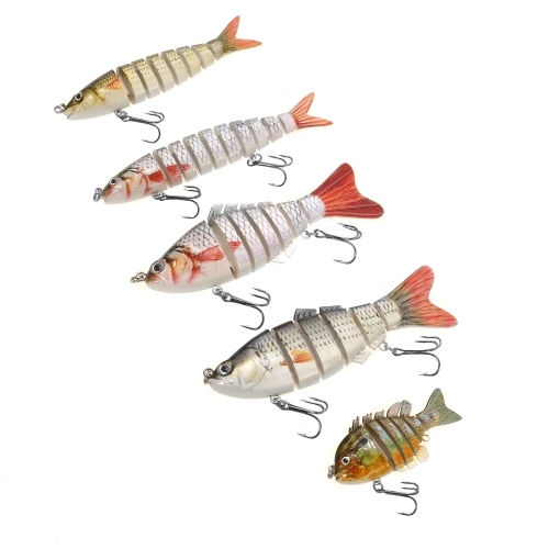 Lixada 5PCS / Box Lifelike Jointed Sections Trout Swimbait Fishing Lure Жесткая приманка для рыбной ловли