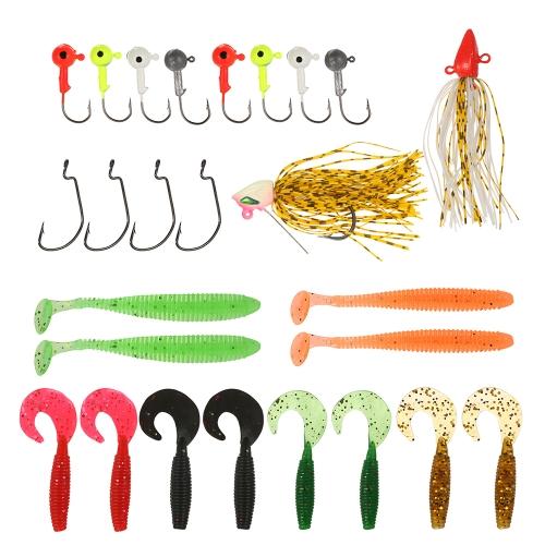 26PCS Мягкие червячные приманки для рыболовных крючков Набор крючков для крючков