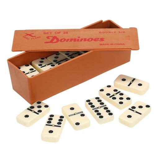 Double Six Dominoes Set Entertainment Recreational Travel Game Juguete Black Dots Dominó