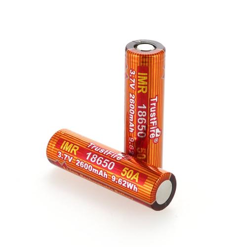TrustFire 2PCS IMR 18650 Batteria 2600mAh 3.7V 50A Batteria ricaricabile agli ioni di litio ad alta velocità per torcia a LED E-sigaretta