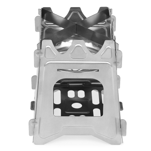 Outdoor Camping Stove Portable Folding Pocket Backpacking Wood Stove with Alcohol Tray for Camping Fishing Hiking