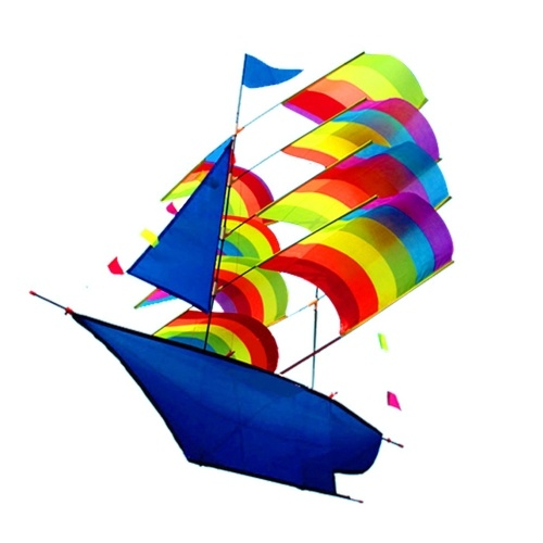 3D Sailboat Kite for Kids and Adults Sailing Boat Flying Kite with String and Handle Outdoor Beach Park Sports Fun