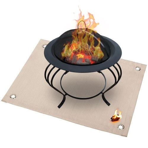 Outdoor Camping Fireproof Ember Mat Fire Pit Mat Grill Stove Mat Blanket Protector for Deck Patio Lawn