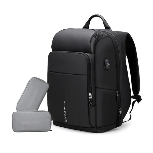 МАРК РИДЕН Большая Емкость Анти-Вор Многофункциональный Бизнес Сумка Для Ноутбука Водонепроницаемый USB Зарядка Открытый Мужчины Рюкзак С 2 Пользовательские Посылки