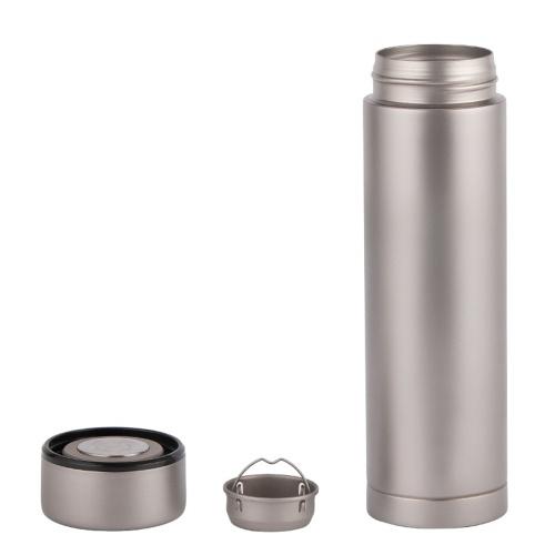 Lixada 450 мл двойная стенка с вакуумной изоляцией титановая бутылка для воды фляжка для спорта на открытом воздухе герметичная бутылка для воды чайная бутылка с заварочным узлом