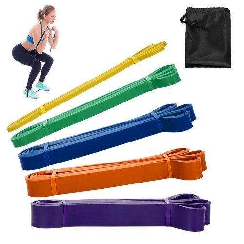 Pack of 5 Resistance Loop Bands Set Latex Yoga Strength Training Pull Up Assist   Bands Home Gym Fitness Workout Elastic Exercise Band with Carry Bag