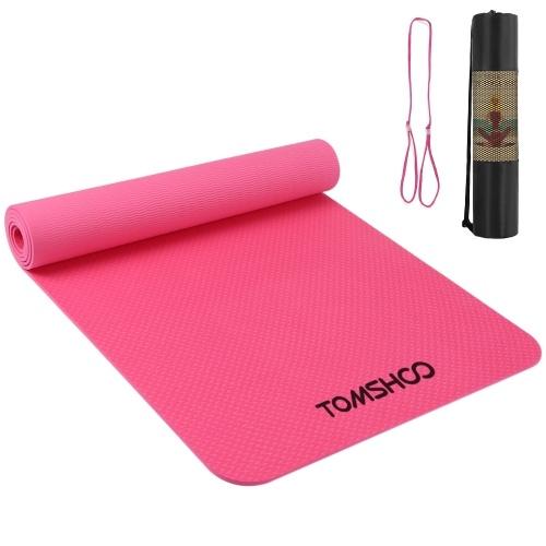 TOMSHOO 72.05 × 24.01in Portable Yoga Mat Thicken Sports Mat Anti-slip Mat Mat para exercícios de fitness com alça de transporte e saco de armazenamento