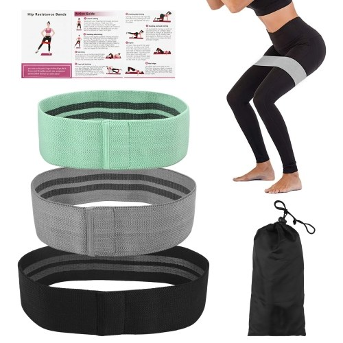 3 PCS Exercise Resistance Loop Bands with Storage Bag Elastic Booty Band Set for Yoga Home Gym Training