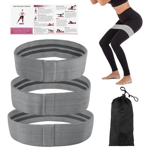 Conjunto de 3 faixas de malha de resistência para exercícios com bolsa de armazenamento para treino de ginástica em casa de ioga