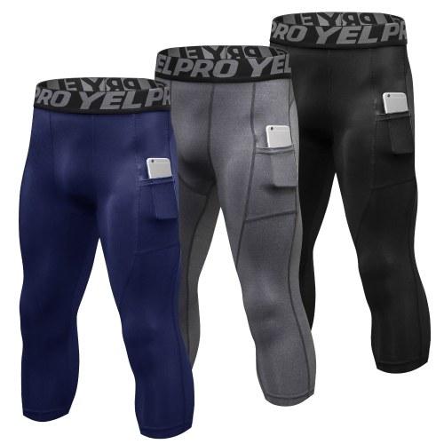 3 Packungen Herren High Waist Yoga Hose Quick Dry Sporthose Fitness Leggings Trainingshose mit Tasche
