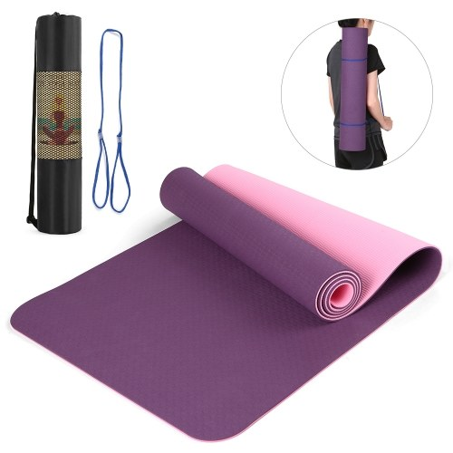 72.05×24.01in Portable Double Dual-colored Yoga Mat Thicken Sports Mat Anti-slip Exercise Mat for Fitness Workouts with Carrying Strap and Storage Bag