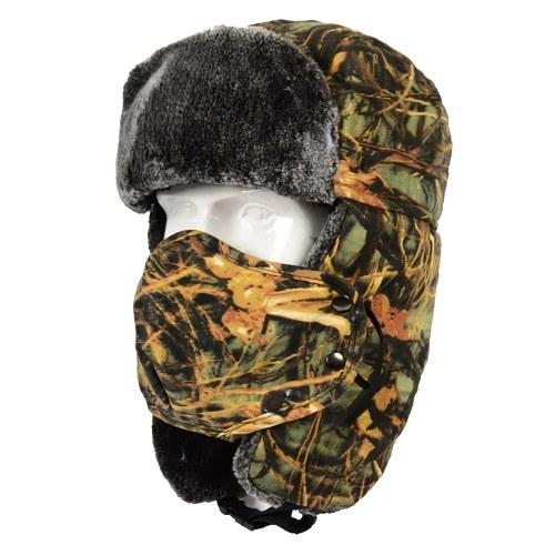 Winter Trapper Hat Ear Flap Thickened Fleece Lining Detachable Face Cover Windproof Hats