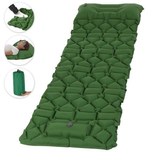 Aufblasbare Isomatte mit Kissen Fußpumpe Luftmatratze für Rucksacktouren Wandern Reisen