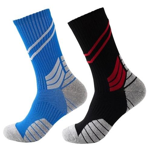 Men Cycling Socks Striped Elastic Breathable Anti-Slip Towel Bottom Running Basketball Sports Stockings Two Pairs