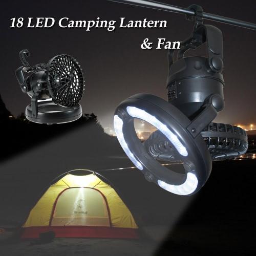 TOMSHOO 2-in-1 18 LED Campeggio Fan & luce tenda lampada lanterna Outdoor trekking Pesca emergenze d'attaccatura