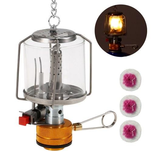 Lanterna de gás portátil para acampamento ao ar livre Piezo Ignição Mini lâmpada para barraca de gás com 3 mantos