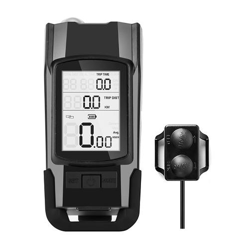 Velocímetro USB 3 em 1 + faróis + buzina Computador de bicicleta 3 modos buzina lanterna LED luzes dianteiras farol de ciclismo