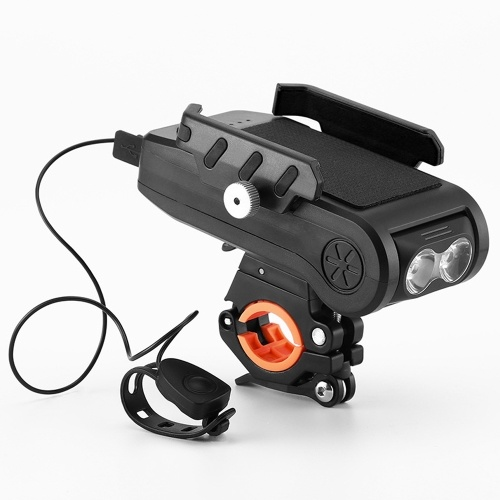 Bicycle Lights Four-in-one Riding Headlight Mobile Phone Holder With Horn Power Banks Bicycle Lights Bicycle Mountain Bike Lamp  Riding Front Light Speaker Riding Equipment