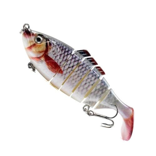 Iscas de pesca de 3,9 pol. / 0,6 onças para truta baixo Iscas de corpo rígido de 6 segmentos com gancho agudo Isca de pesca com múltiplas articulações Isca de pesca com múltiplas articulações Olhos 3D Iscas artificiais Crankbait