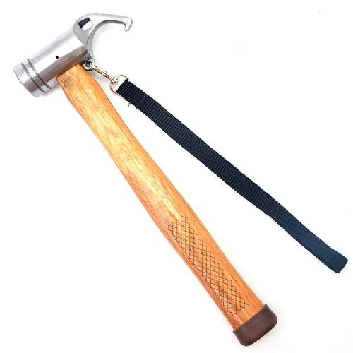 Martelo de aço multifuncional para barraca de acampamento ao ar livre Martelo extrator de unhas com cabo de madeira e martelo de segurança
