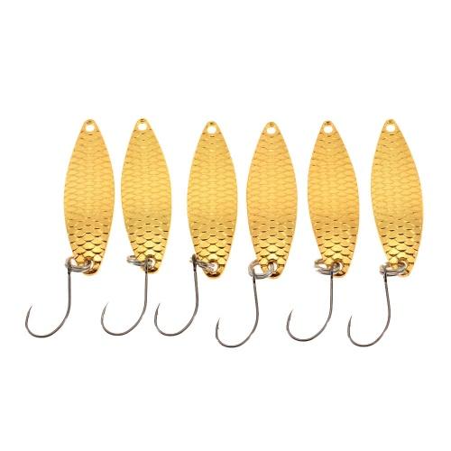 YAPADA 6Pcs 2g/3.3cm 3g/3.8cm Zinc Alloy Hard Fishing Lures Spoon Sequin Paillette Baits with Single Hook