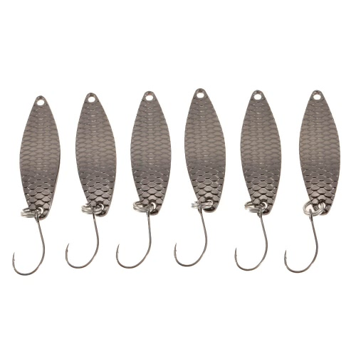 YAPADA 6Pcs 2g/3.3cm 3g/3.8cm Zinc Alloy Hard Fishing Lures Spoon Sequin Paillette Baits with Single Hook