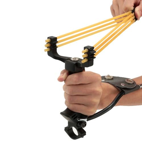 Al aire libre potente plegable muñeca soporte Honda catapulta con linterna Clip