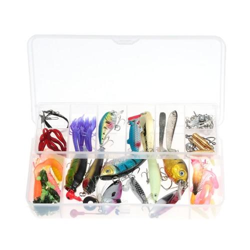 100pcs künstliche Fishing Lure weich hart festgelegt Köder Minnow VIB Spinner Löffel Popper Bleistift, die Kurbel Jig Kopf Haken mit zweilagigen Fishing Tackle Box