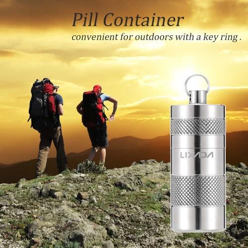 Lixada титанового сплава Водонепроницаемый Pill Box Дело Контейнер Survival Kit