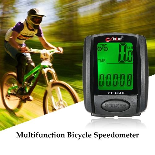 Bicicleta de la bici del velocímetro del odómetro del cronómetro de luz de fondo a prueba de lluvia Termómetro multifunción