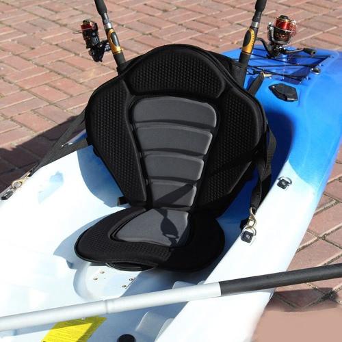 Acolchado lujo Kayak barco asiento suave y antideslizante acolchado Base respaldo alto con bolsa de almacenamiento desmontable